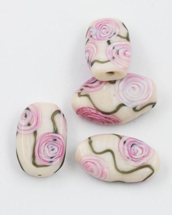 flat glass bead cream pink flower