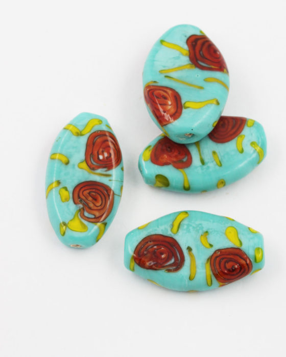 flat glass bead turquoise red flower