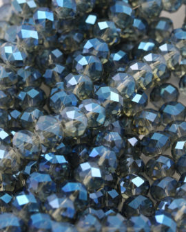 Bead, crystal faceted rondelle full coat effect , 9 x 12 mm. Sold per strand of approx. 48 beads