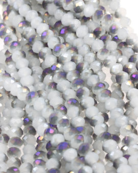 Bead, crystal faceted rondelle opaque/iridiscent effect, 6 x 8 mm. Sold per strand of approx.72 beads