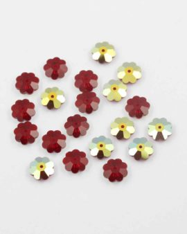 Swarovski flower sequins foiled 10mm siam