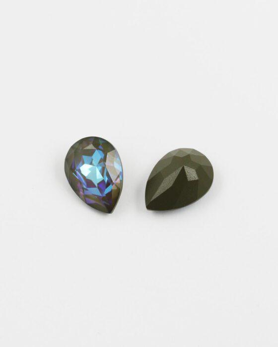 Pear-Fancy-Stone-18x13mm-army-green-De-Lite-unfoiled