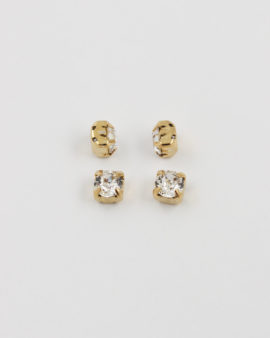 swarovski rouns square set gold & crystal SS29