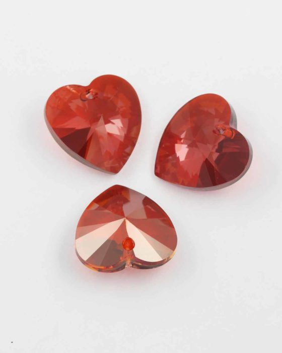 Swarovski xilion heart pendant 28mm #6228 Red Magma