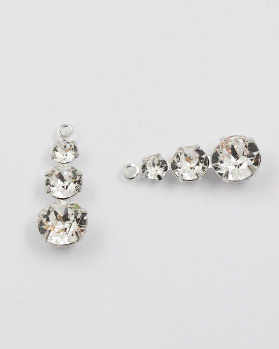 Swarovski 3 crystals pendant rhodium and crystal