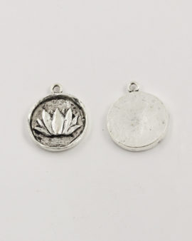 lotus charm antique silver large