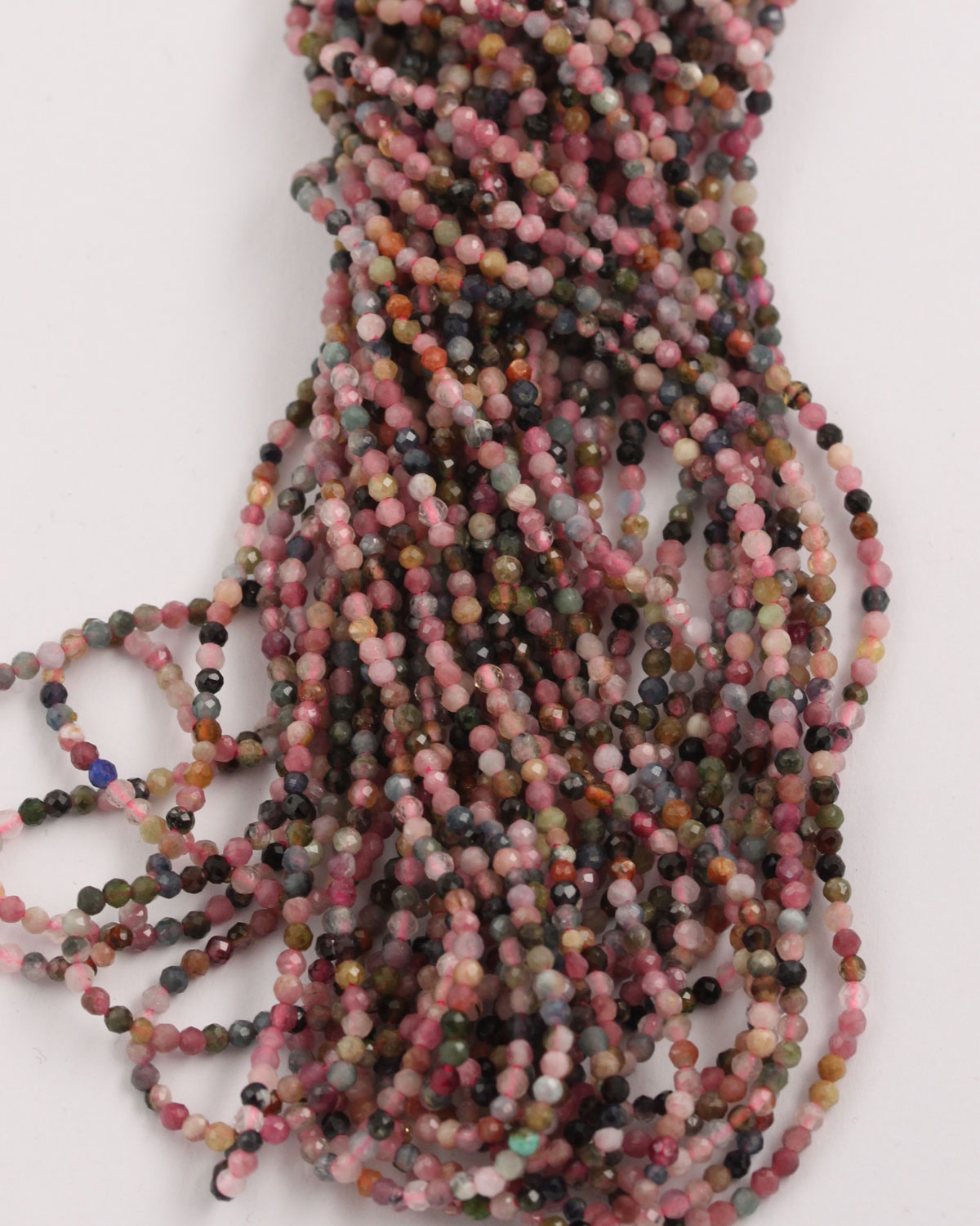 Rainbow Tourmaline faceted round beads 2mm