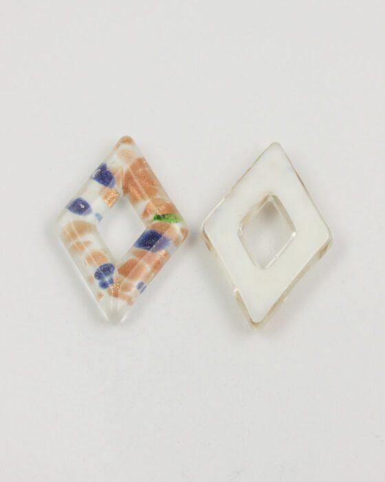 diamond goldstone glass pendant white