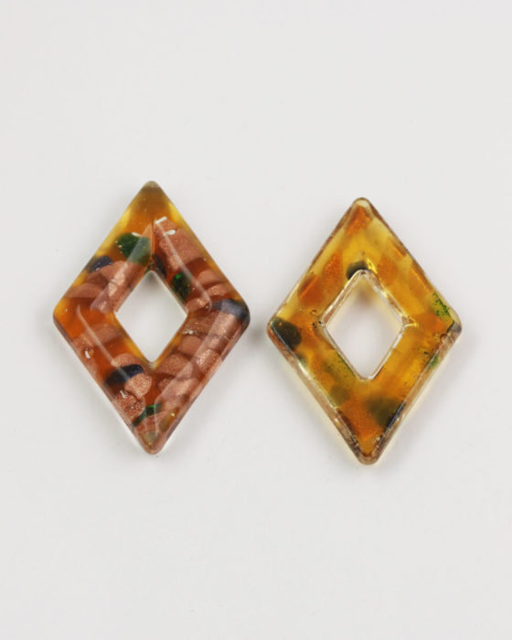 diamond goldstone glass pendant amber