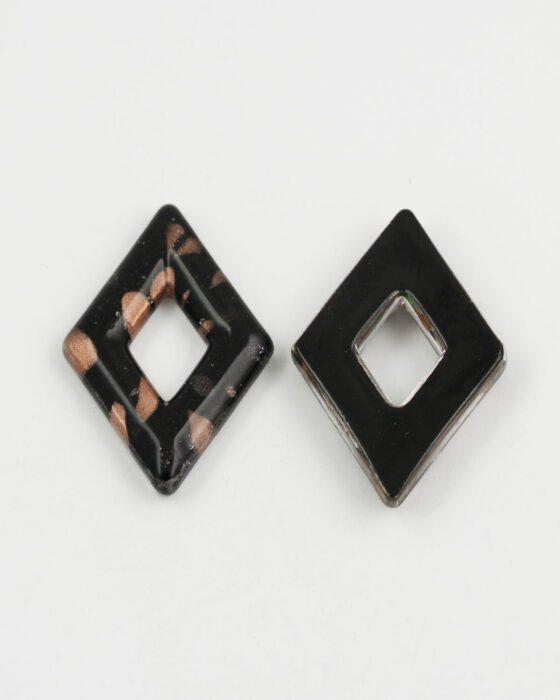 diamond goldstone glass pendant black