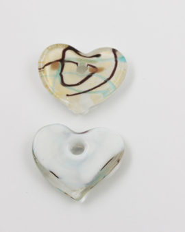 Handmade Glass Heart Pendant 40x35mm White