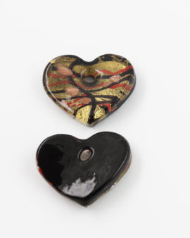 Handmade Glass Heart Pendant 40x35mm Black