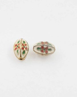 Fluted oval cloisonne bead 15x12mm. Sold per pack of 10