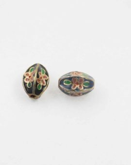 Fluted oval cloisonne bead black