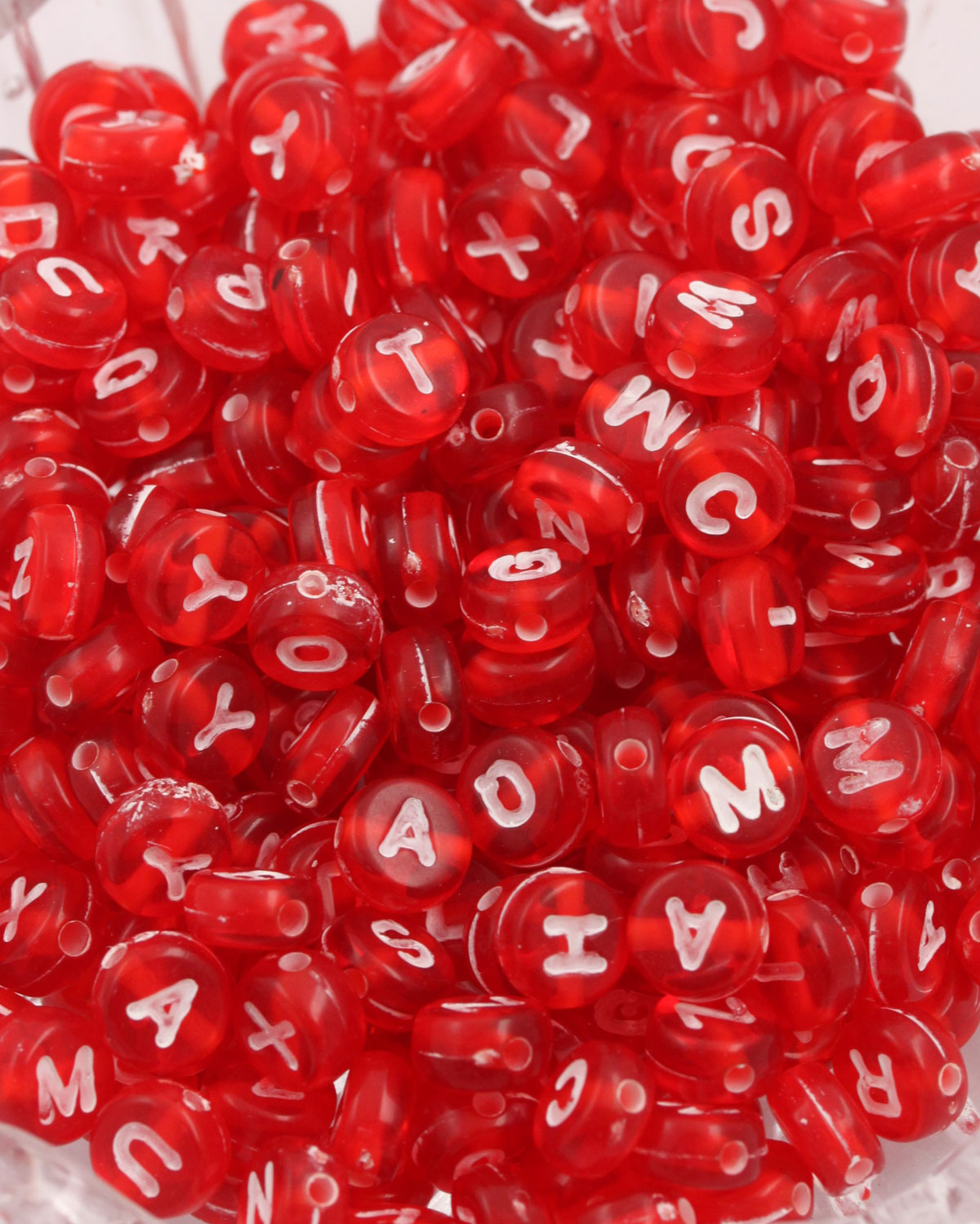 Alphabet beads 6mm Red