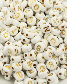 acrylic alphabet beads 6mm Gold
