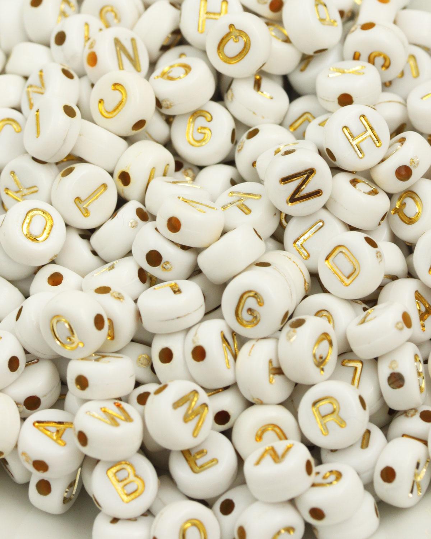 acrylic alphabet beads 6mm Gold