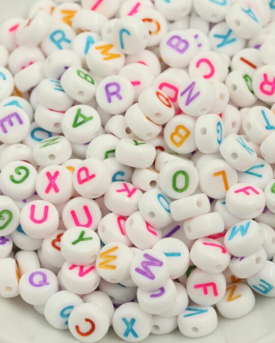 acrylic alphabet beads 6mm rainbow