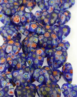 Millefiori Glass heart 18x18mm mm. Sold per strand approx. 24 beads