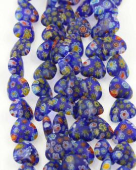 Millefiori glass heart 12x12mm dark blue blue