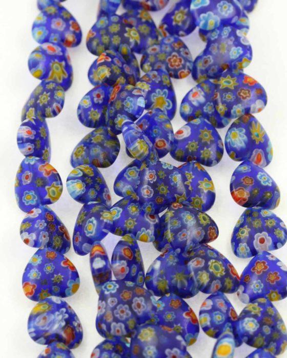 Millefiori glass heart 12x12mm dark blue blue