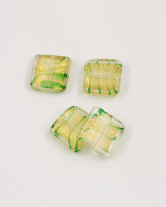 Flat Square Handmade Bead 20x20mm