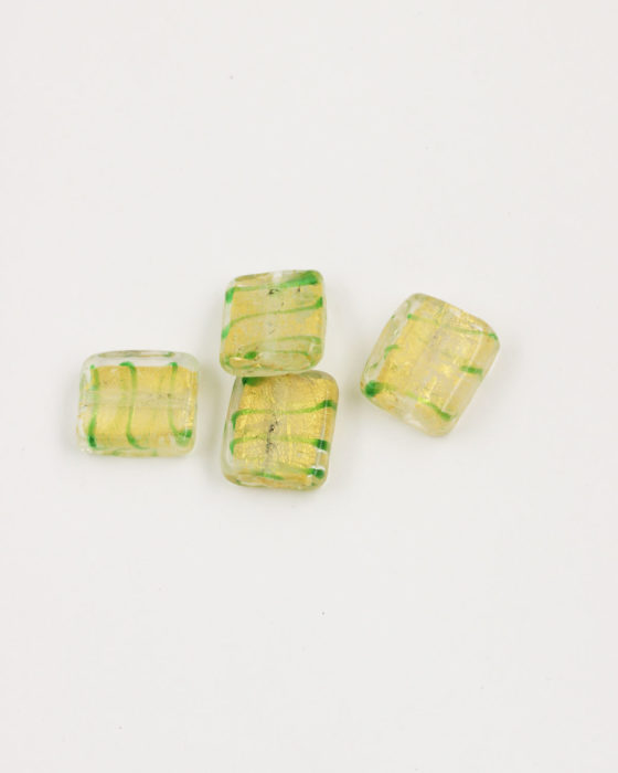 Flat Square Handmade Bead 14x14mm