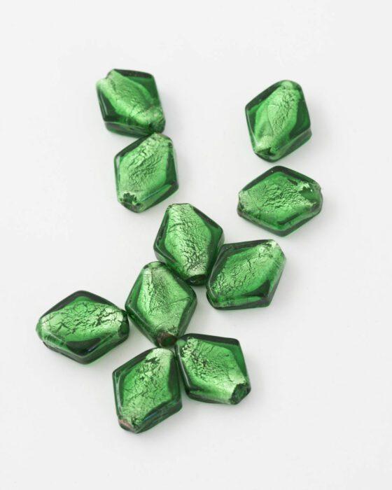 diamond shape handmade glass bead green