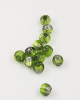 Handmade Silver leaf Glass bead 12mm silver leaf & lime