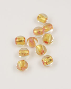 handmade oval glass bead 12mm gold leaf & pink