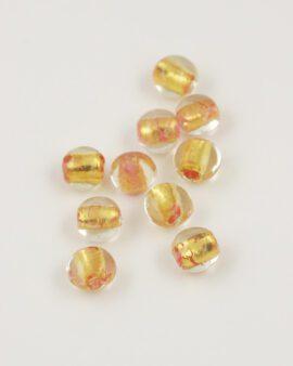 handmade oval glass bead 12mm gold leaf & pink
