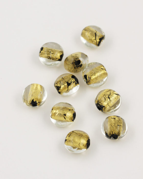 handmade oval glass bead 12mm gold leaf & black