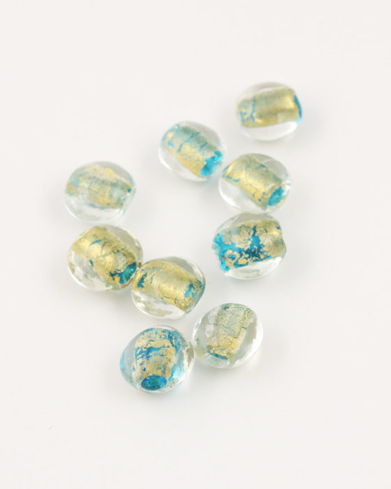 handmade oval glass bead 12mm gold leaf & turquoise