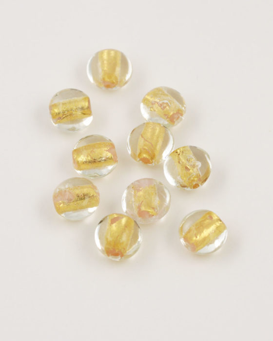 handmade oval glass bead 12mm gold leaf & amber