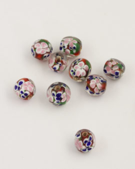 Handmade Glass Beads with Flower 12mm red