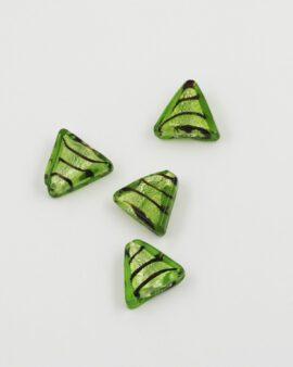 Handmade Glass Triangle Beads 20x16mm silver leaf lime