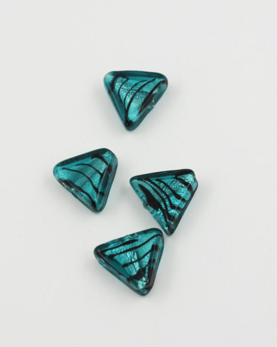 Handmade Glass Triangle Beads 20x16mm silver leaf turquoise
