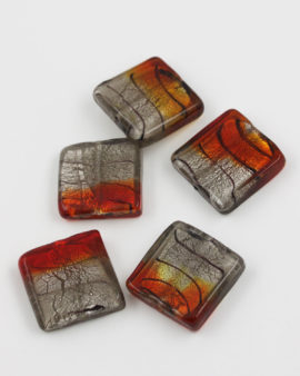 handmade glass bead flat square silver leaf 25x25mm silver & red