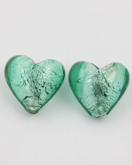 handmade glass heart green silver foil