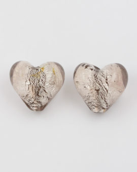 silver leaf glass heart grey