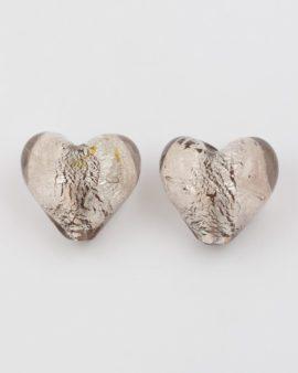 silver leaf glass heart grey