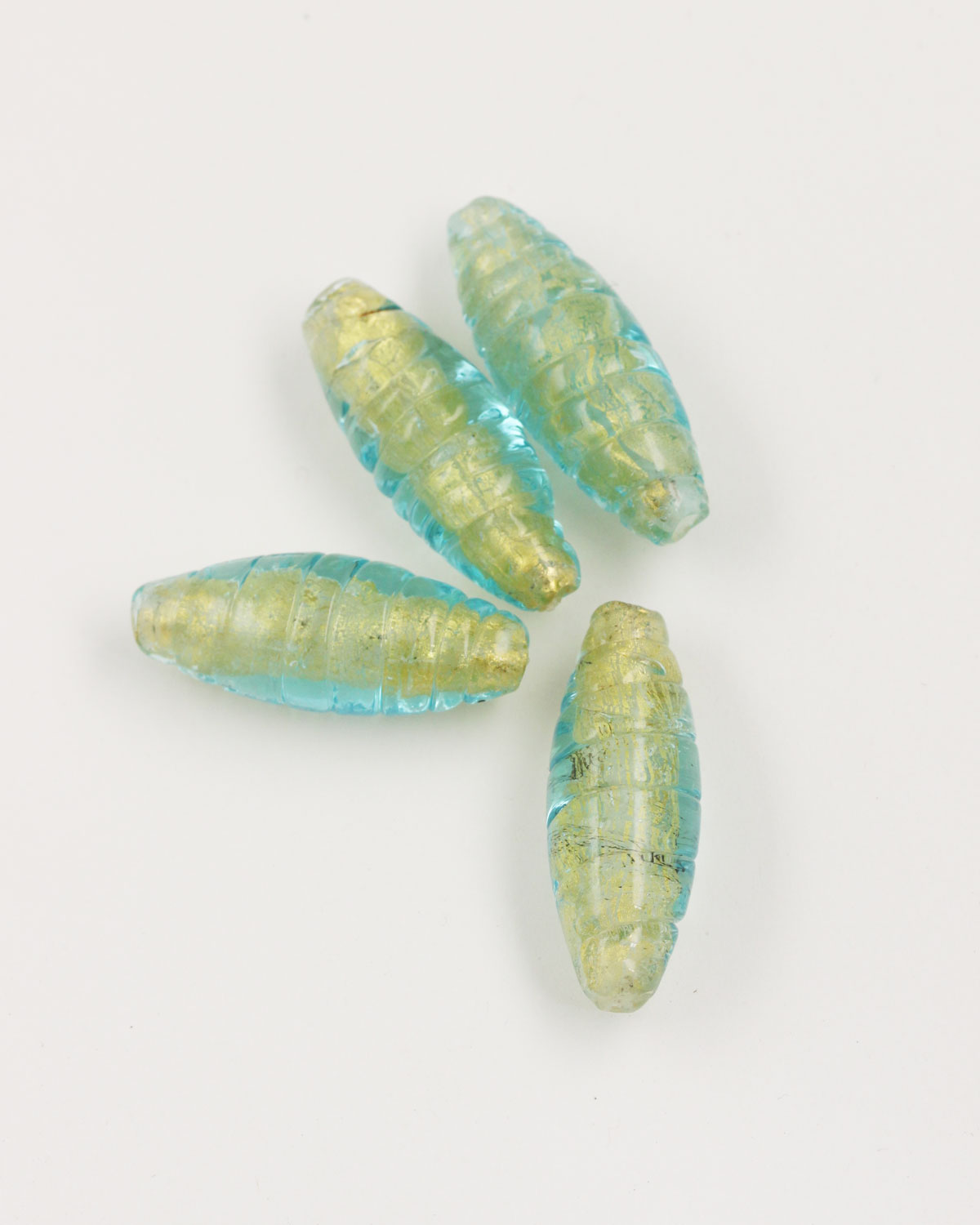 spiral olive shape glass bead turquoise