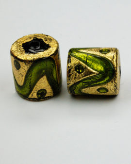 cylinder gold leaf venetian glass bead lime
