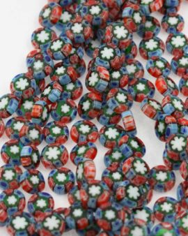 Millefiori Glass disc, 10 x 4 mm. Sold per strand approx. 42 beads