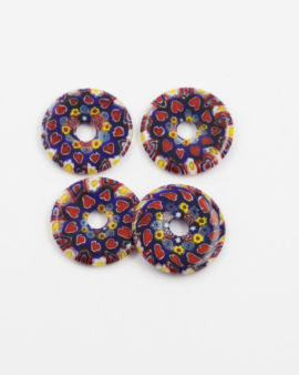 millefiori glass donut red and blue