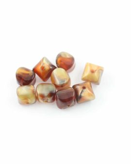 Fluted square resin beads 12mm. Sold per pack of 10