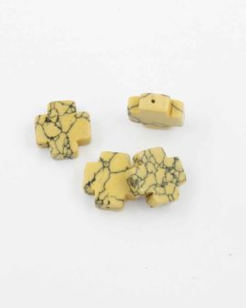 Howlite cross bead yellow