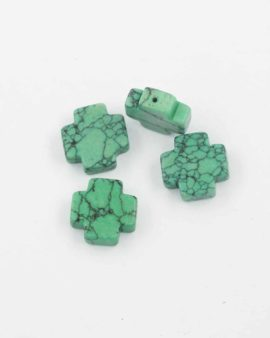 Howlite cross bead green