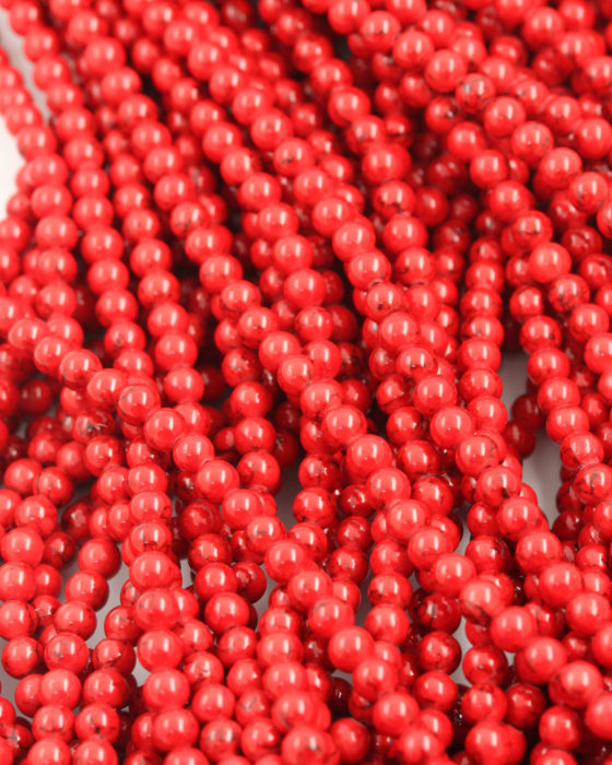 Dyed jade round beads 4mm Red