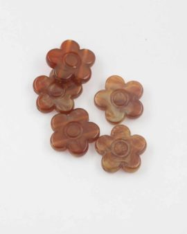 Flower shape resin beads 20x5mm. Sold per pack of 10